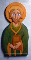 St. Patrick carving in basswood with painted finish.