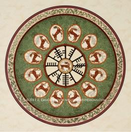 """Crainn na hÉireann: Acrylic inks on paper, 16.5"""" diameter."""