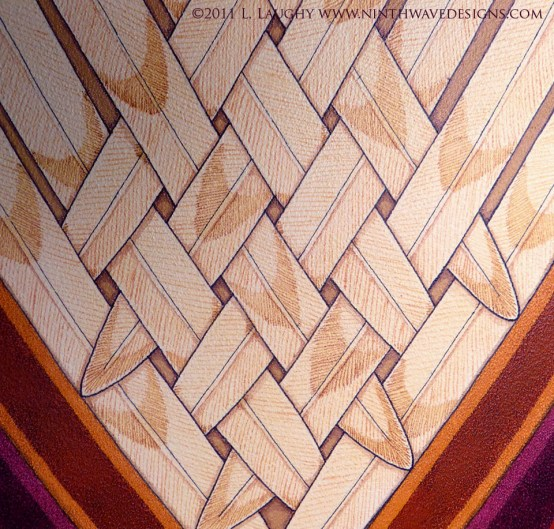 Seraphim Icon: Detail of the interwoven feathers from the central wings.