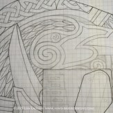 I enlarged and drew the full-scale design drawing with pencil on graph paper.
