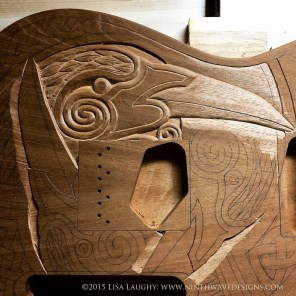 The beginning stage of carving - roughing out the design.