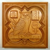 "SPS Form of 1996 Plaque, 11.25"" x 11.25"", stained basswood."
