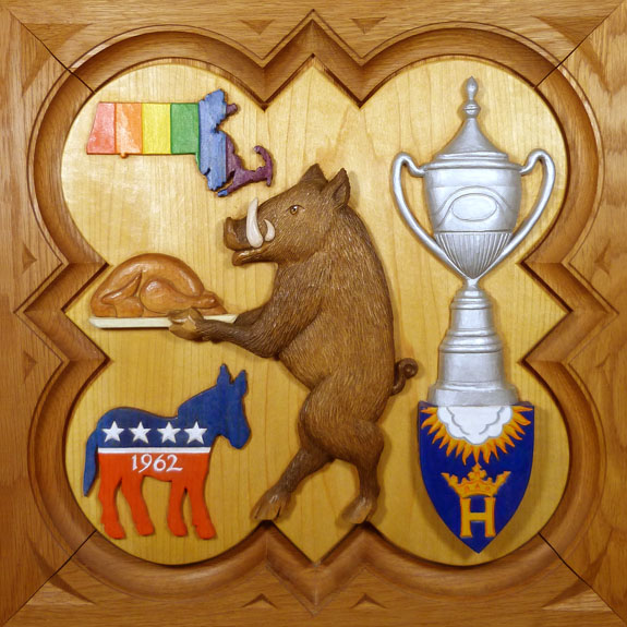 "SPS Form of 2004 Plaque, 11.25"" x 11.25"", painted basswood."