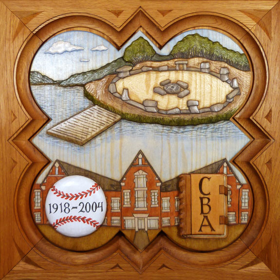 "SPS Form of 2005 Plaque, 11.25"" x 11.25"", painted basswood."