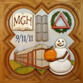 """SPS Form of 2012 Plaque, 11.25"""" x 11.25"""", painted basswood."""