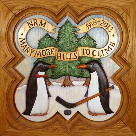 """SPS Form of 2014 Plaque, 11.25"""" x 11.25"""", painted basswood."""