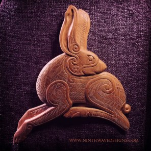 The completed Irish Hare wood carving.
