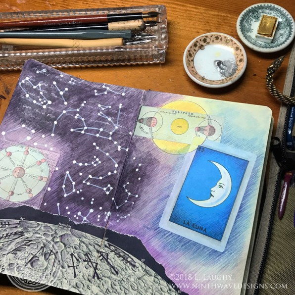 A two page spread from my collage sketchbook: collage, watercolor pencils and liquid acrylics.