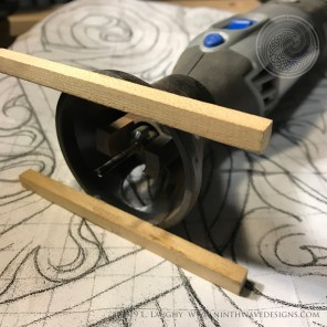 I adapted a Dremel router set up to keep an even depth on the curved surface.