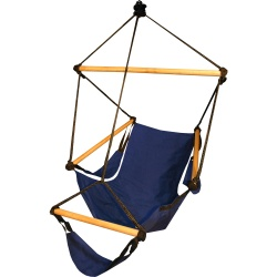 cradle hammock free standing navy blue made of wood