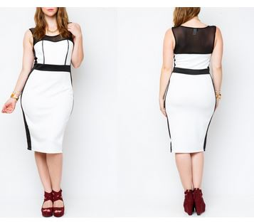 color block body con midi dress