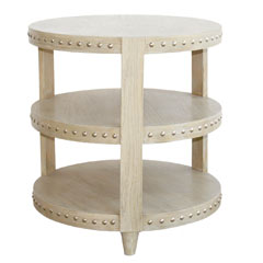 round beige oak side table on 3 levels