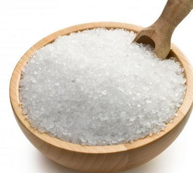 epsom salts in a wooden bowl