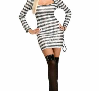 prisoner of love adult woman costume, black and white stripes with sequin and hat,