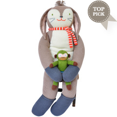 hand knitted giant Bunny, rabit toy in real life size knitted in cotton and extremely cuddly
