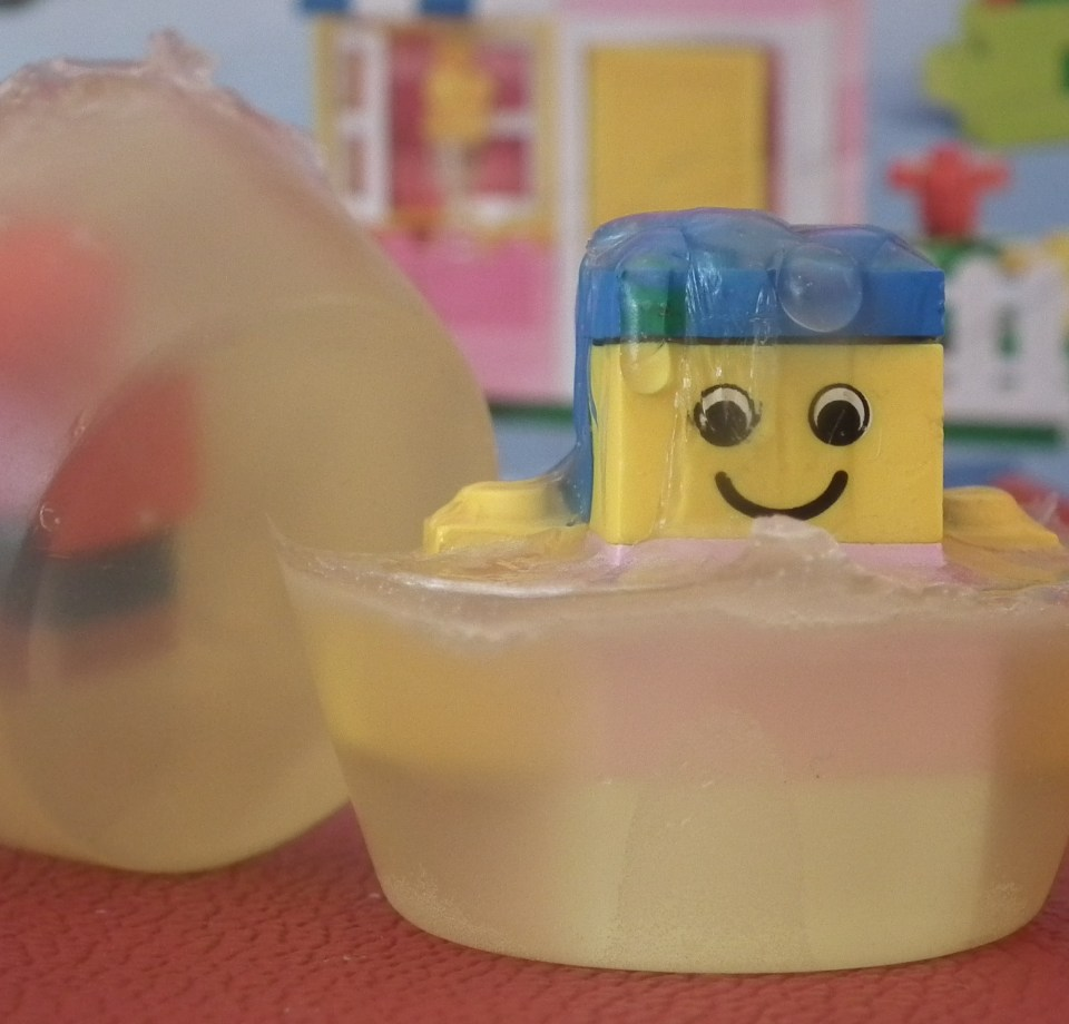 Lego Figure in a Transparent Melt and Pour Soap Base