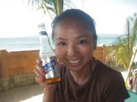 Chie with a Philipine beer