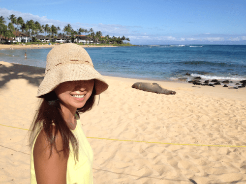 Chie and Monk seal at Kiahuna