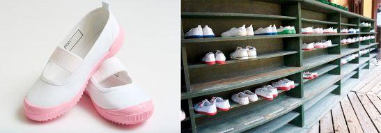 El diseño típico de las zapatillas uwabaki, con una goma en la parte delantera. © Pixta. Un zapatero con varios pares de uwabaki a la puerta de un colegio. ©Photolibrary