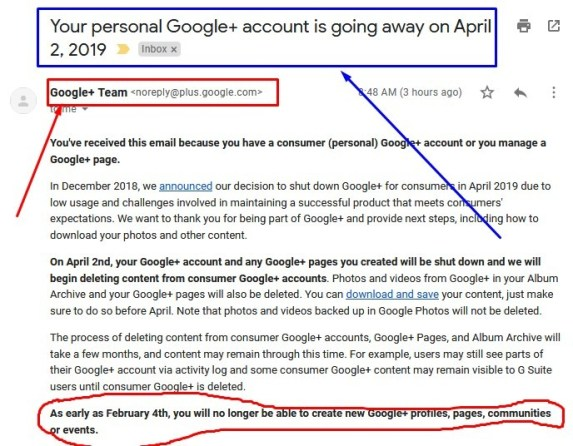 Google+ Account Closing on 2nd April 2019