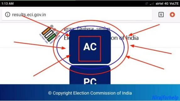 Click on AC - results.eci.gov.in