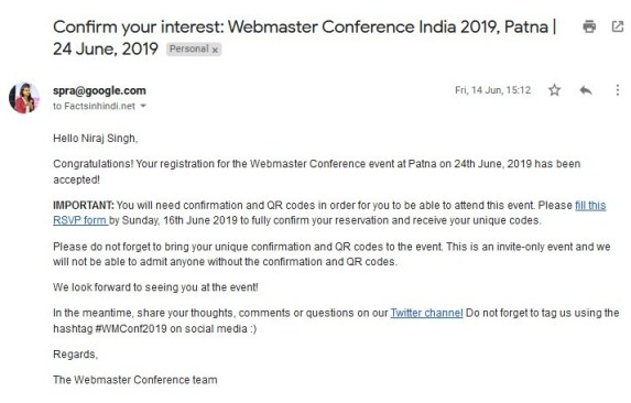 Confirm your interest - Webmaster Conference India 2019 Patna 24 June, 2019