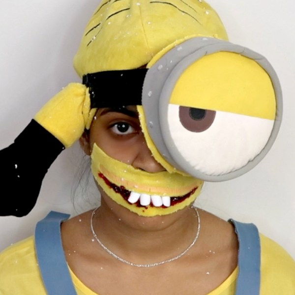SUPER EASY SCARY MINION MAKEUP TUTORIAL FOR KIDS, nishiv, www.nishiv.com