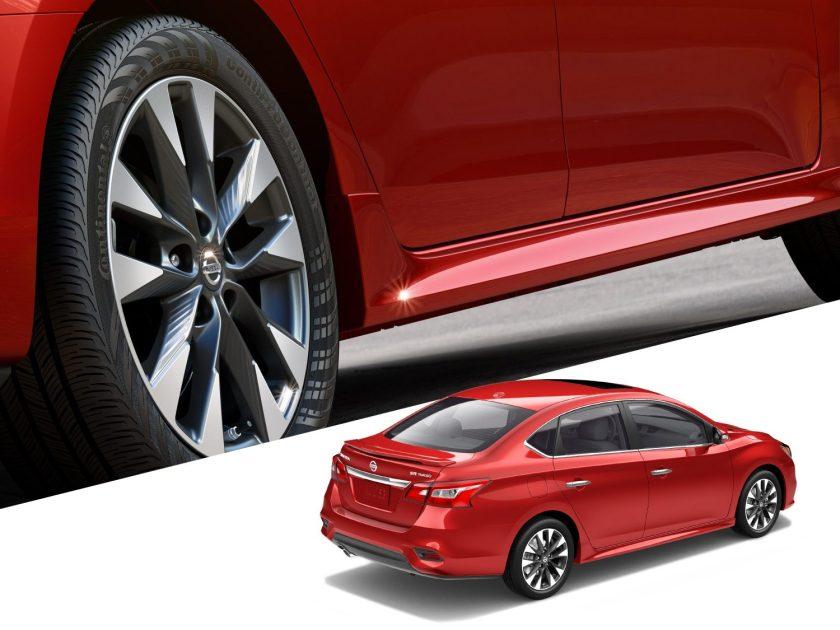 Nissan Sentra wheel detail and exterior rear shot