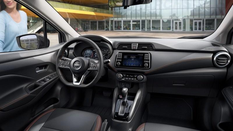 2020 Nissan Versa leather wrapped steering wheel