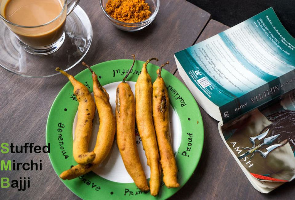 Andhra Mirchi Bajji | Stuffed Mirchi Bajji with step by step pictures