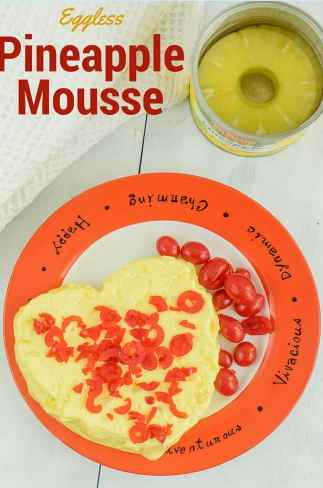 Eggless Pineapple souffle (pineapple mousse recipe)
