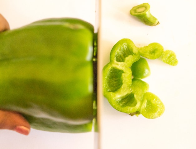 Now take your capsicum , remove the stem