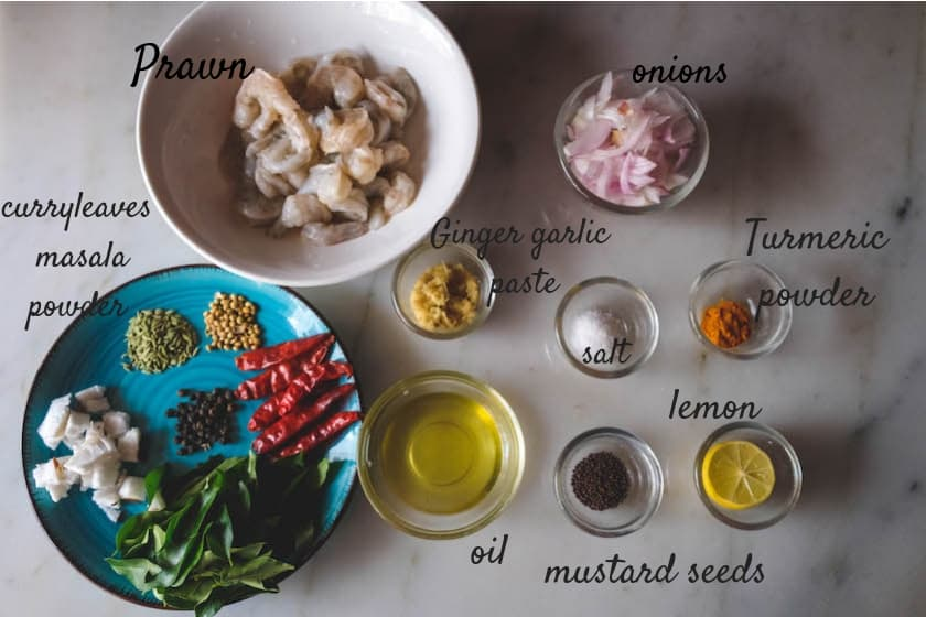 List of Ingredients used for curry leaves Prawn Fry