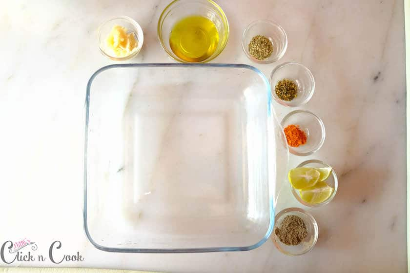 Take your baking container for marination and as well bake in the same bowl