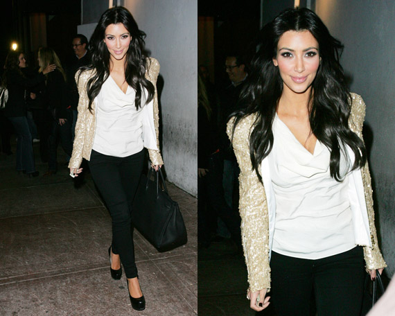 Kim Kardashian Rockin Bebe Sequin Strong Shoulder Jacket