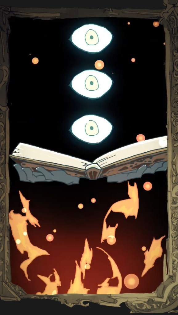 A three eyed being opens a book with fire burning in the foreground