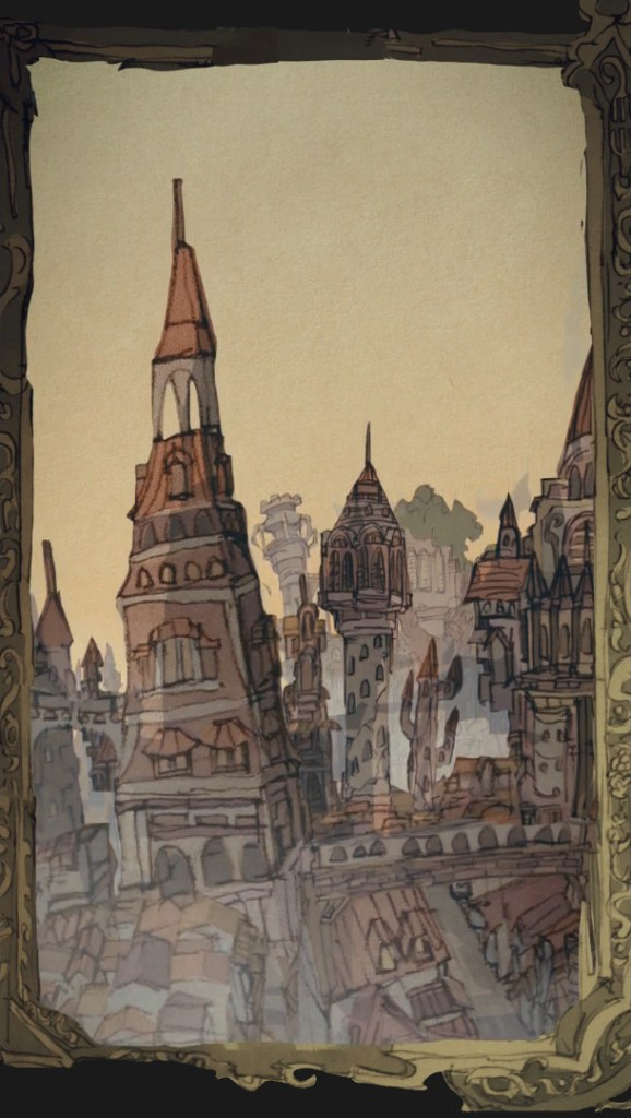 Warau Ars Notoria Background Art Cityscape by illustrator Waboku