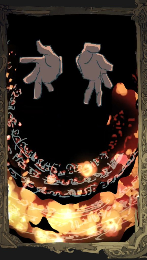 Hands surrounded by a Magic CIrcle and FIre