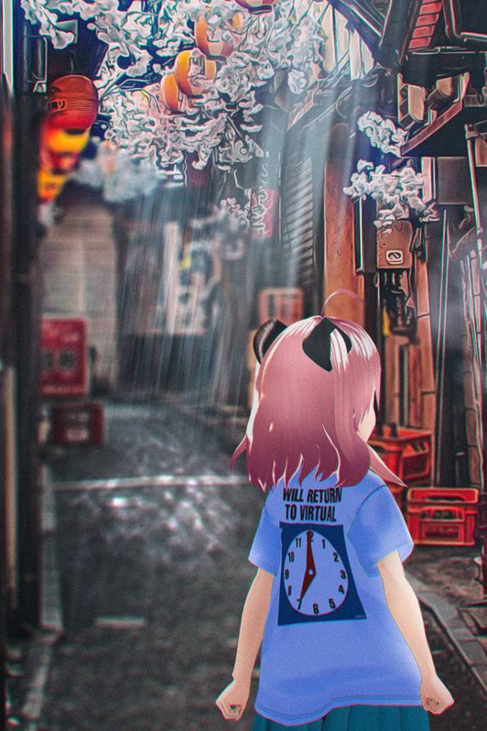 bbbbit modeling itopoid VIRTUAL REALI-T vol2 T-Shirt in an alleyway
