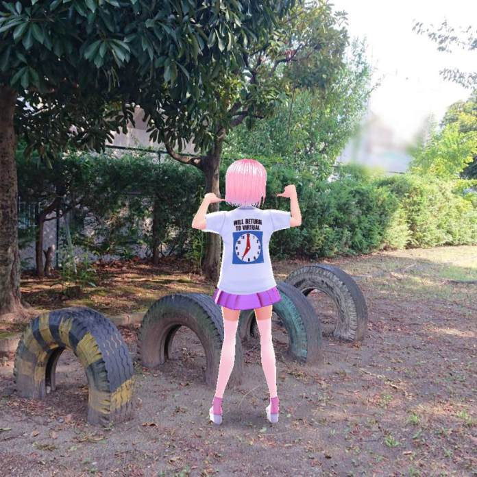 Maple @maplewalnut63 next to tires posing in itopoid VIRTUAL REALI-T vol2 T-shirt