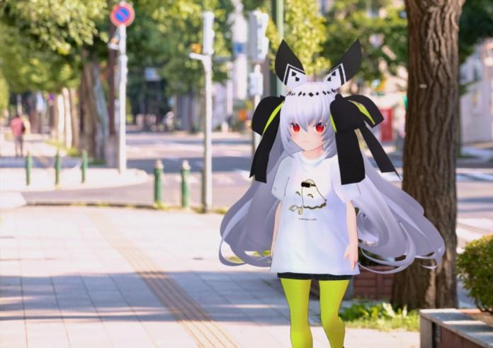 Mochi (@motimotii1) modeling Kinari-chan's VIRTUAL REALI-T vol.2 shirt