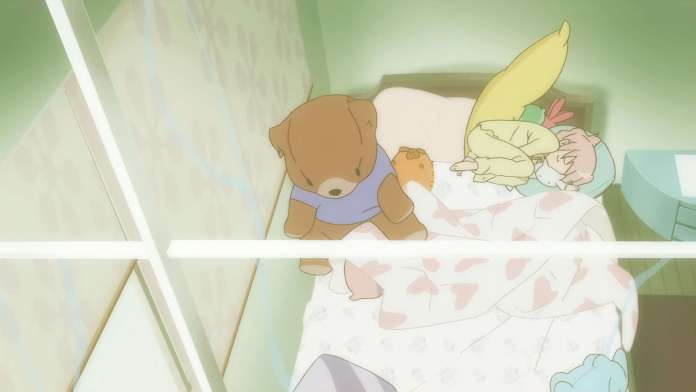 Madoka Kaname from Puella Magi Madoka Magica sleeps next to Kyubey