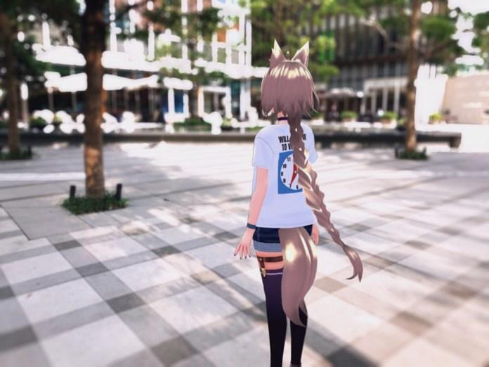 Yue Sugiha (@sugihayue) wearing itopoid VIRTUAL REALI-T vol2 shirt in a plaza