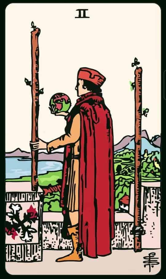 TWO Of WANDS : 2 ไม้เท้า