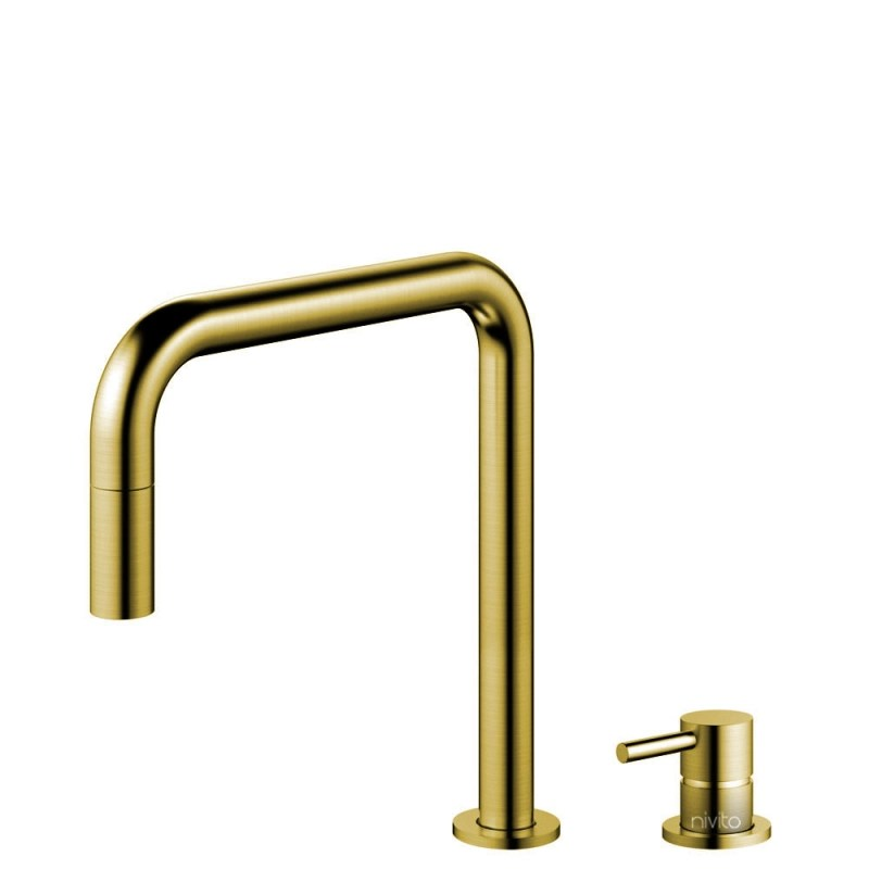 brass gold kitchen faucet pullout hose seperated body pipe