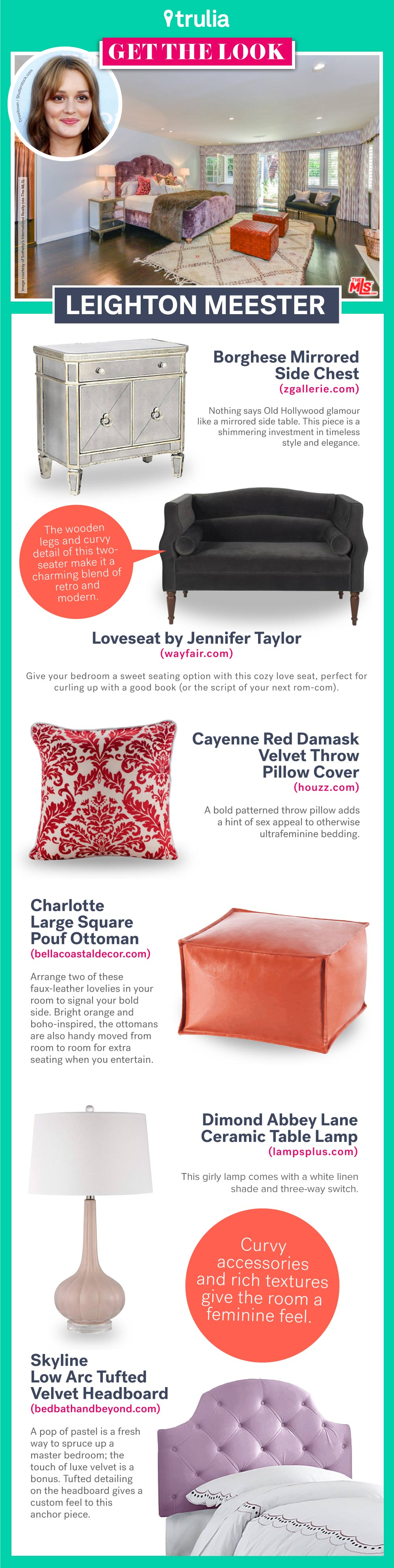 Get the Look - Leighton Meester Bedroom Infographic