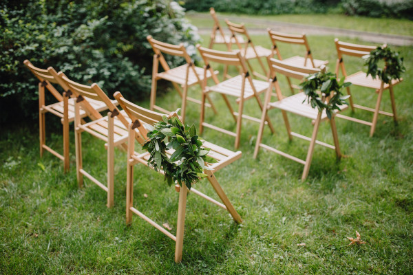 Wooden Chairs Backyard Wedding