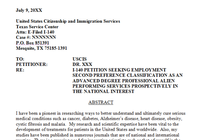 green card recommendation letter sample eb1