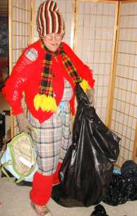 Bag lady costumed character