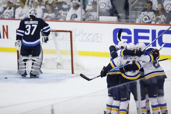 The St. Louis Blues take on the Winnipeg Jets in game two of their 2019 Stanley Cup Playoffs first round series on Friday. (John Woods | The Canadian Press via AP)